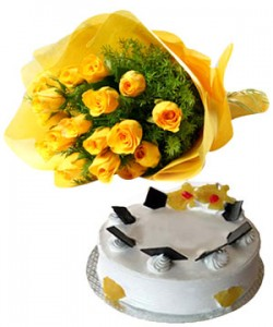 10 yellow rose Bunch with half kg pineaaple cake
