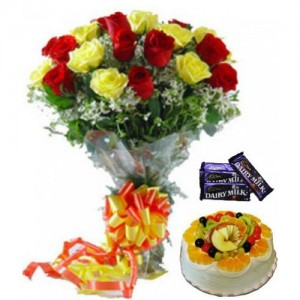 12 Red & Yellow Rose Bunch, Half Kg Fruit Cake with Chocolates