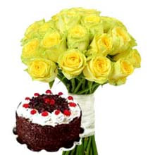 12 Yellow Roses with 1 Kg Black Forest Cake