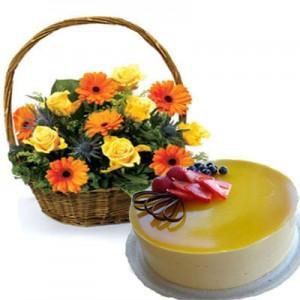 Rose Gerbera Basket with Cake