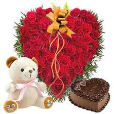 50 Heart Shape Red Rose, 1/2 kg Chocolate Cake and Small Teddy