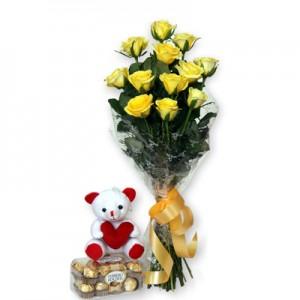 12 yellow rose small teddy-16 pcs ferroro rocher