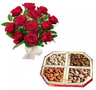 Roses with Assorted Dry Fruits