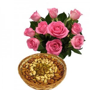 Pink Roses with Dry Fruit Basket