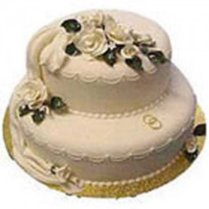 2 Tier Vanilla Wedding Cake 3 Kg (On Two Days Prior Order)