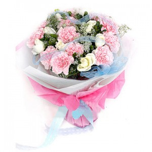 Bunch of 12 Carnations and 7 Roses