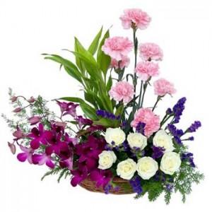 8 Carnation 8 Orchids & 8 Rose Arrangment