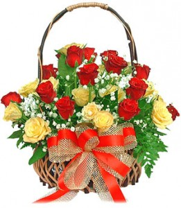 A beautiful basket of 15 Red & 10 Yellow Roses