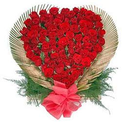 40 red rose arrangement in heart shape