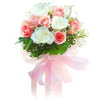 Hot Pink & White Roses