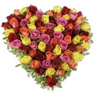Mixed Roses Heart 50 Flowers