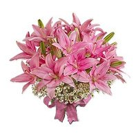 Pink Oriental Lily Bouquet 6 Stems
