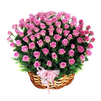 Pink Roses Basket 100 Flowers