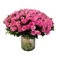 Pink Roses in Vase 100 Flowers