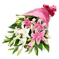 Pink White Lily Bouquet 18 Flower Stems