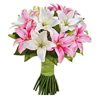 Pink White Lily Bouquet 6 Stems