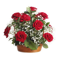 Red Roses Basket 18 Flowers