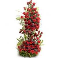 Red Roses Tall Arrangement 200 Flowers