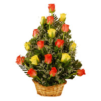 Red Yellow Roses Basket 18 Flowers