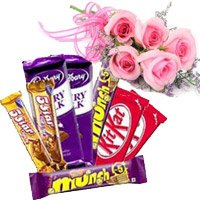 Twin Five Star, Dairy Milk, Munch, Kitkat Chocolates with 5 Pink Roses