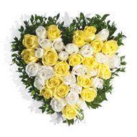 Yellow White Roses Heart 50 Flowers