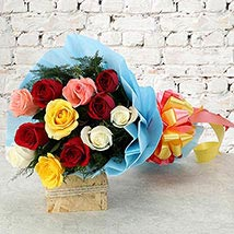 bunch of 12 mix color Roses