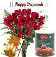 15 Red Roses and 1 Kg Gulab Jamun