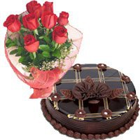 1 Kg Chocolate Cake 12 Red Roses Bouquet