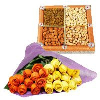 24 Orange Yellow Roses Bunch 500 gms  Dry Fruits
