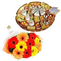 500 gm Assorted Kaju Sweets with 12 Mix Gerbera