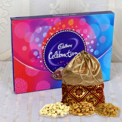 Celebrations Pack with Dry Fruits Potli
