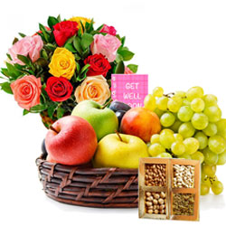 Fruits Basket with Dry Fruits N Flowers