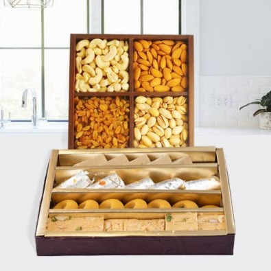 Assorted Haldirams Sweets with Mixed Dry Fruits
