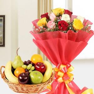 Mix Roses N Fruit Hamper