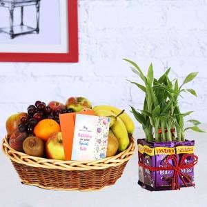 Bamboo Hamper with Fruit Basket