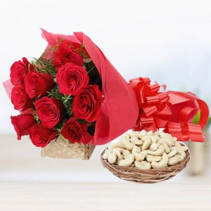 10 Red Roses with 250 gms Cashew