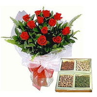 Red Rose Bouquet N Mixed Dry Fruits