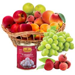 Fresh Fruits Basket with Haldirams Rasgulla