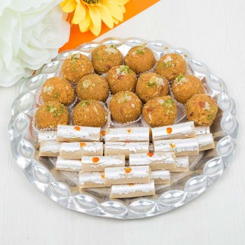 lovely Sweets in Silver Thali