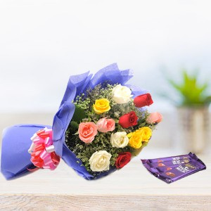 12 Flowers Bouquet with Cadbury Chocolates