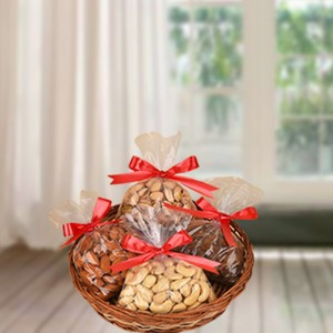 Healthy Dry Fruits a round basket.