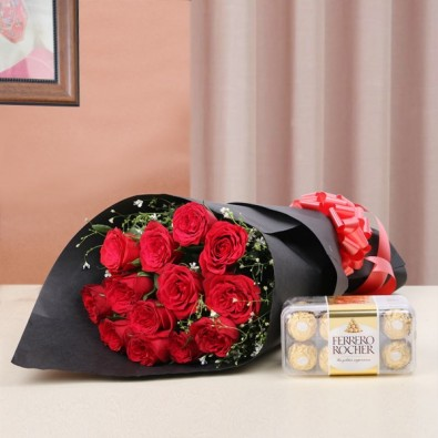 12  Roses with (16 pcs) Ferrero Rocher