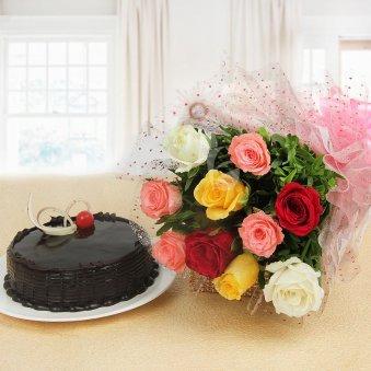 Mix Rose Truffle Cake Combo