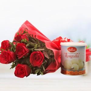 Flowers with sweet Rasgulla