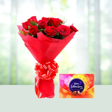 10 red rose and 1 Cadbury celebration