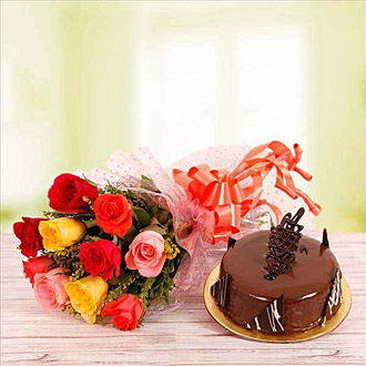 10 Mix Roses with 500 chocolate cake