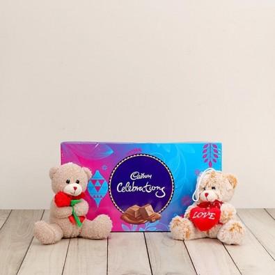 2 Teddy 6 inch  and 1 Cadbury Celebrations (Medium)-100 gm