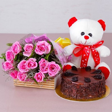 12 Pink Roses With Cake And Teddy