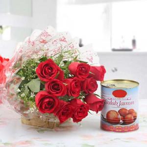 10 Red Rose with 1 kg Gulab jamun Tin