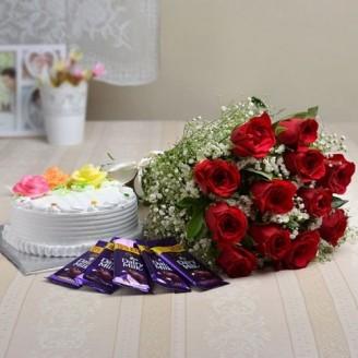 CAKE ROSES AND CHOCOLATES